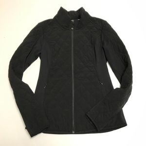 Athleta Black Quilted Upside Zip Up Jacket Coat S